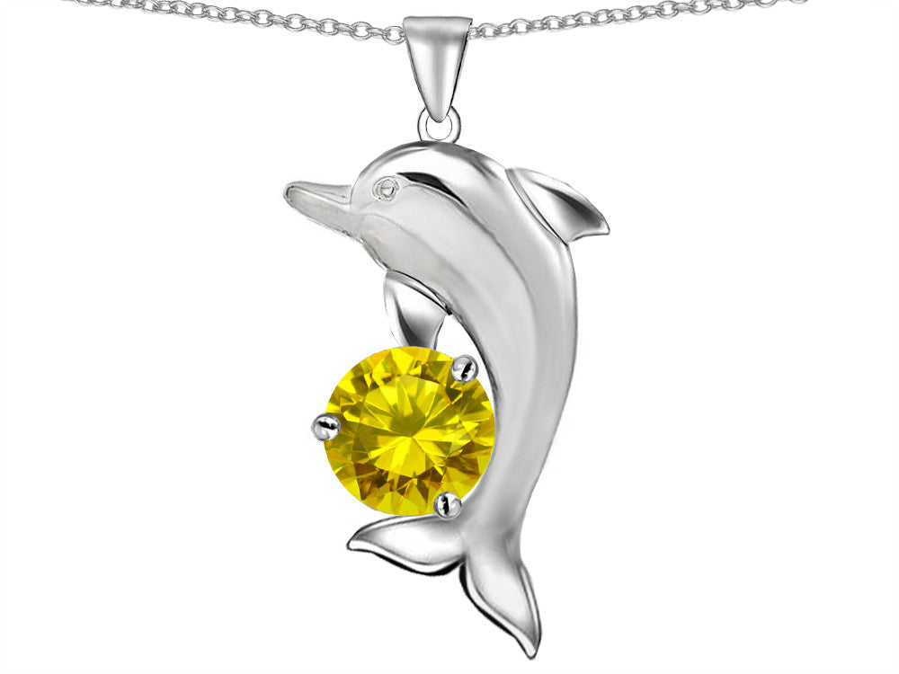 Star K Round 7mm Simulated Citrine Good Luck Dolphin Pendant Necklace