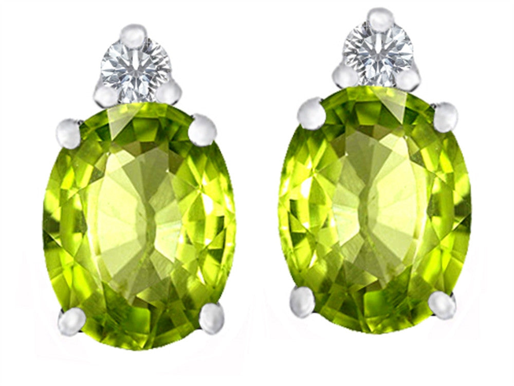 Star K 8x6mm Oval Simulated Peridot and Cubic Zirconia Earrings Studs