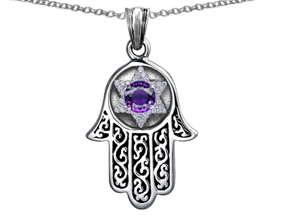 Star K Hamsa Evil Eye Protection Pendant Necklace Round Simulated Amethyst