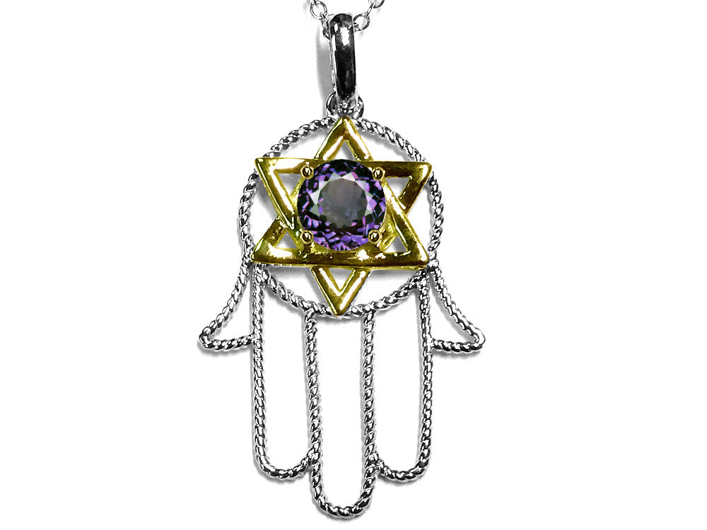 Star K Large Hamsa Hand Jewish Star of David Pendant Necklace with Simulated Alexandrite