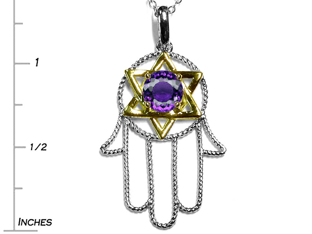 Star K Large Hamsa Hand Jewish Star of David Pendant Necklace with Genuine Amethyst