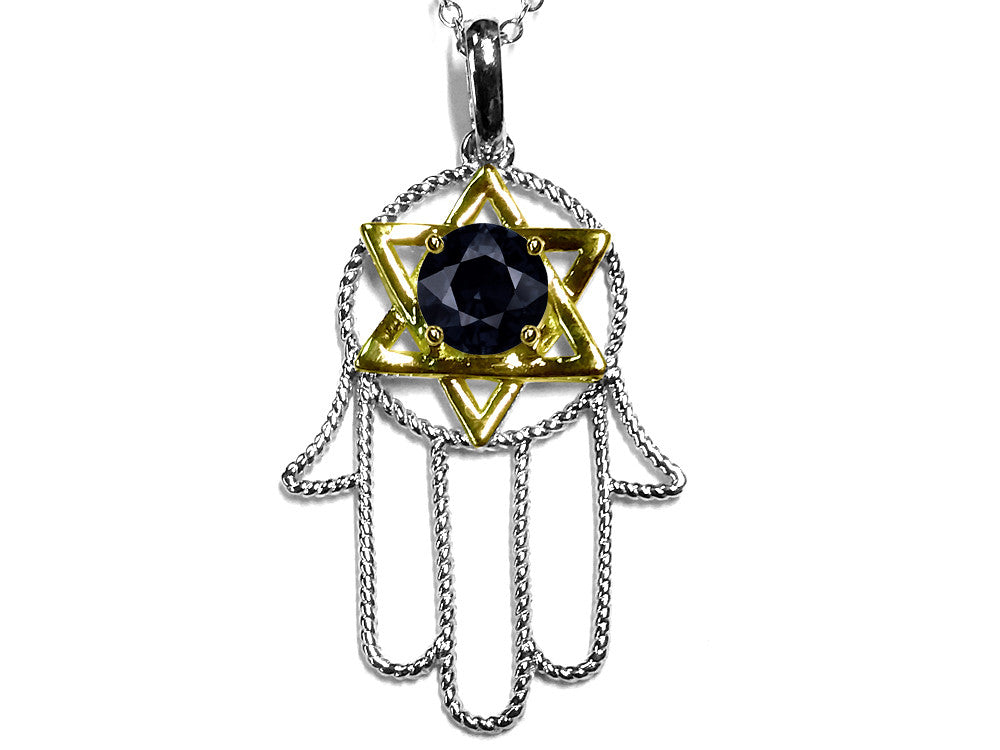 Star K Large Hamsa Hand Jewish Star of David Pendant Necklace with Genuine Black Sapphire