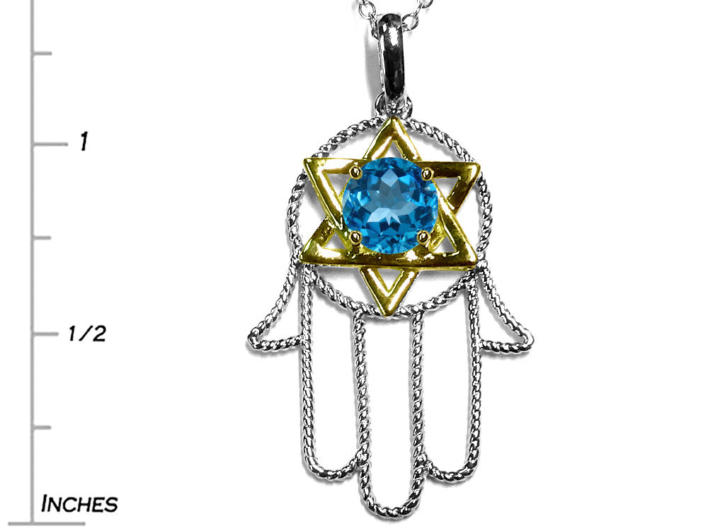 Star K Large Hamsa Hand Jewish Star of David Pendant Necklace with Genuine Blue Topaz