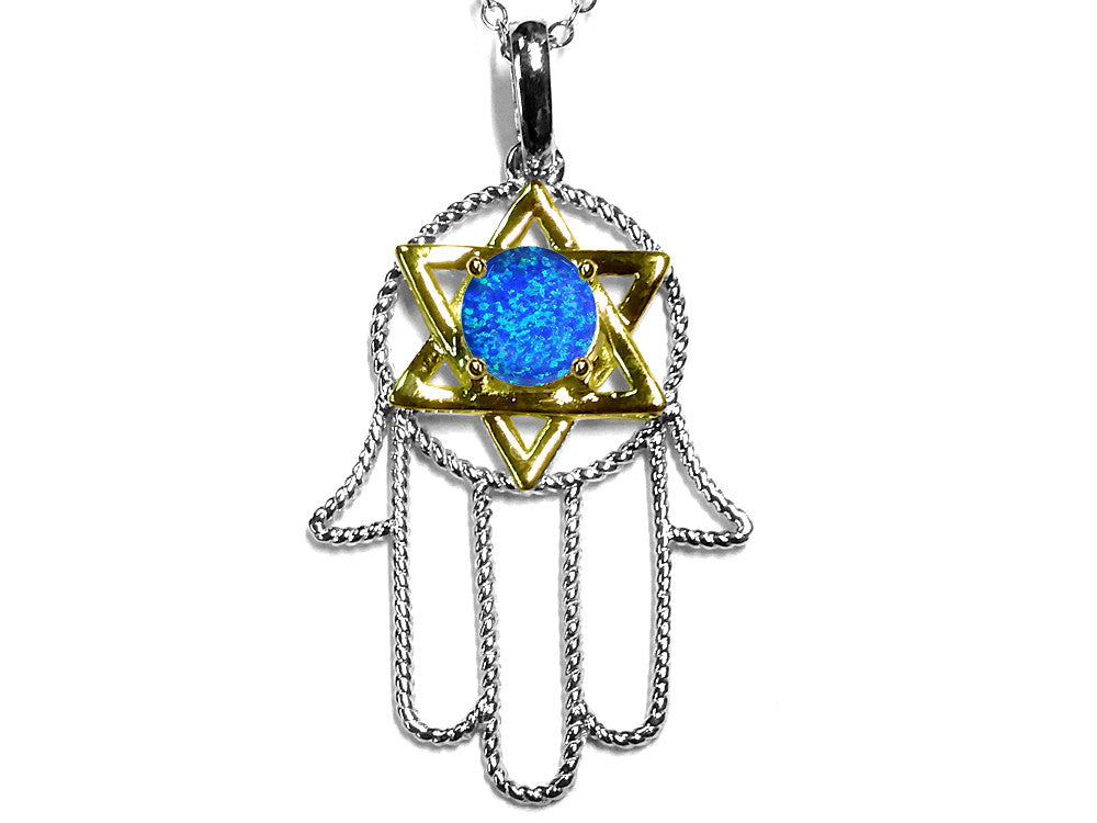 Star K Large Hamsa Hand Jewish Star of David Pendant Necklace with Blue Simulated Opal