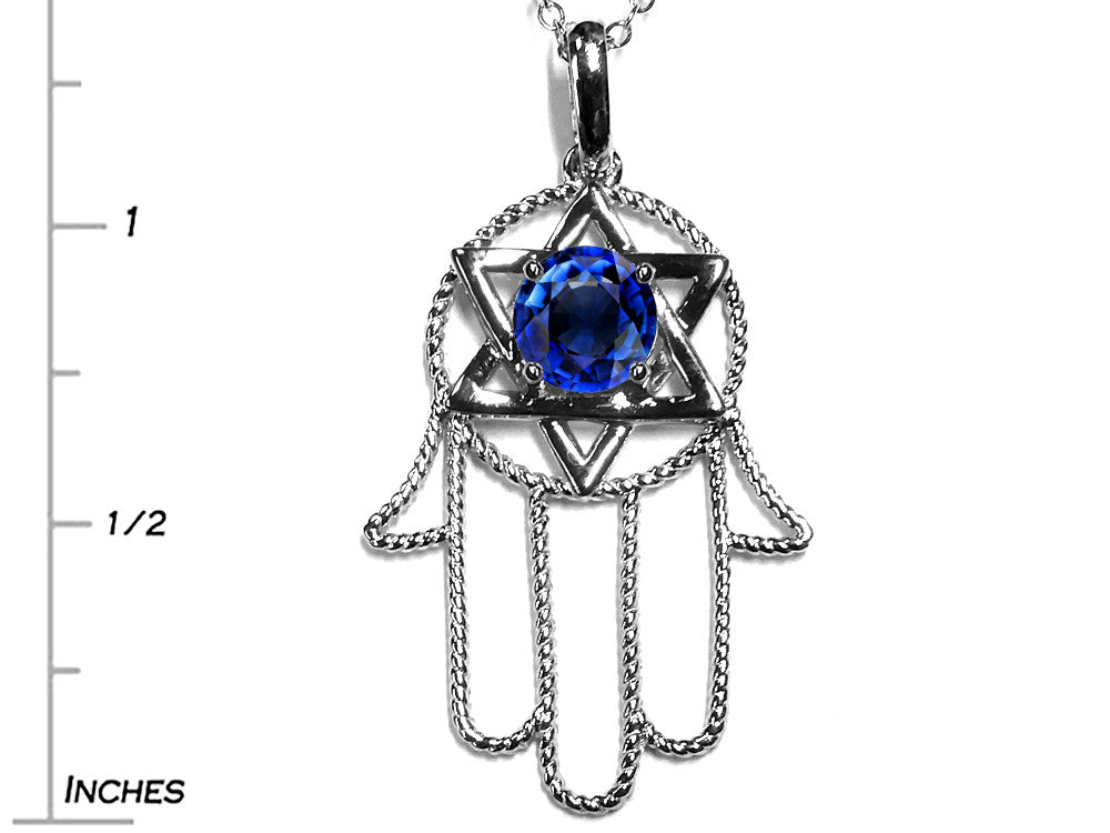 Star K Large Hamsa Hand Jewish Star of David Pendant Necklace with Created Sapphire