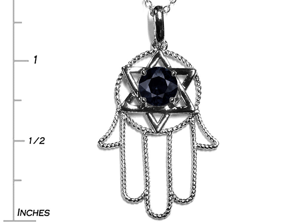 Star K Large Hamsa Hand Jewish Star of David Pendant Necklace Genuine Black Sapphire
