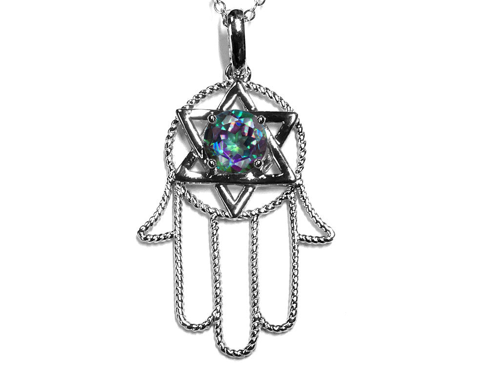 Star K Large Hamsa Hand Jewish Star of David Pendant Necklace with Rainbow Mystic Topaz