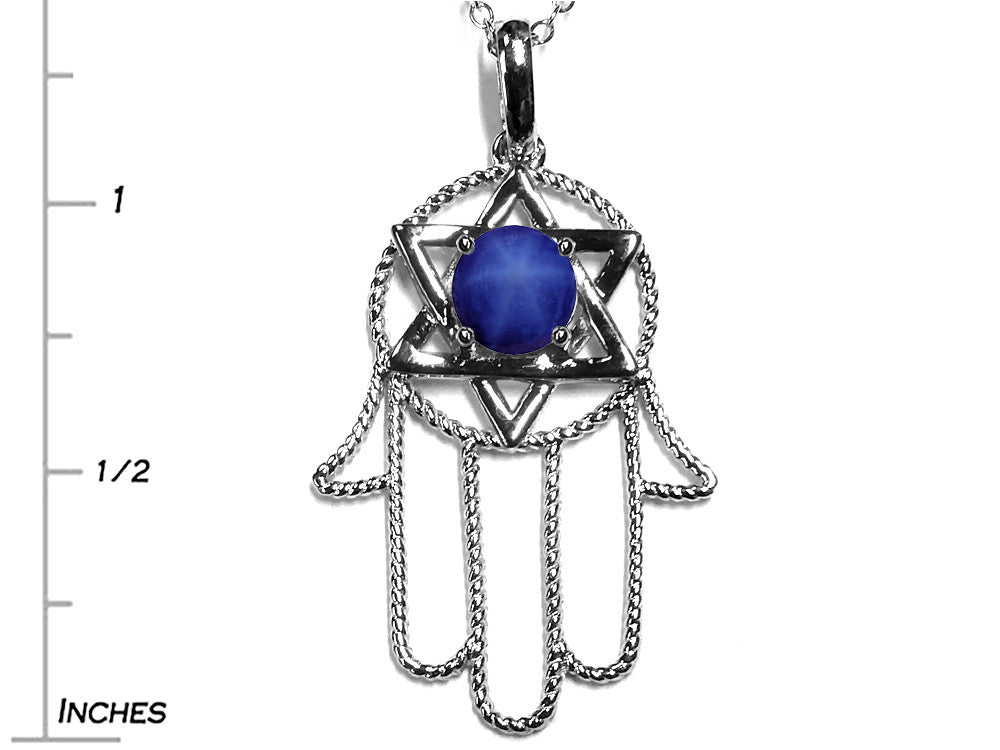 Star K Large Hamsa Hand Jewish Star of David Pendant Necklace with Simulated Star Sapphire