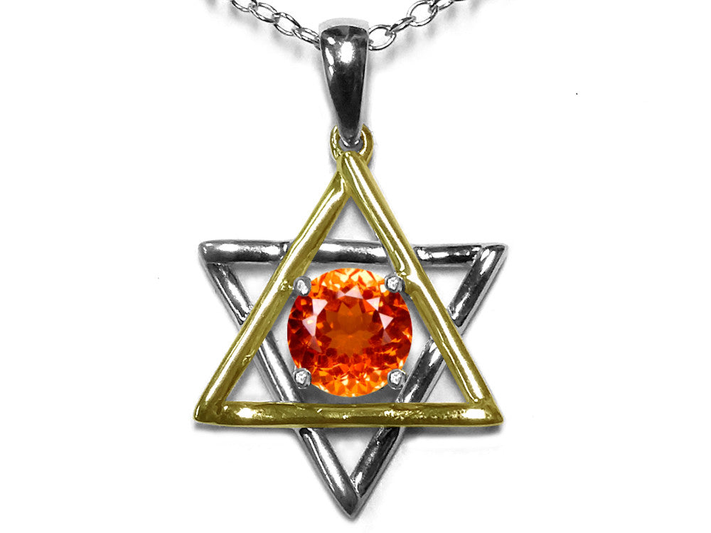 Star K Jewish Star of David Pendant Necklace with Round Simulated Mexican Fire Opal