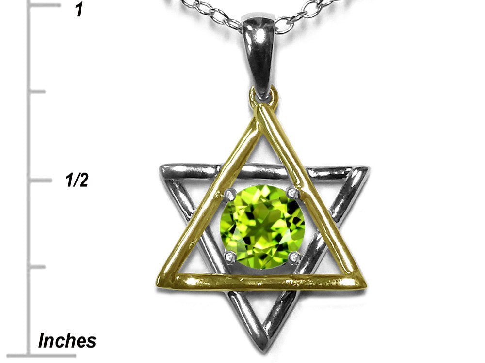 Star K Jewish Star of David Pendant Necklace with Round Genuine Peridot