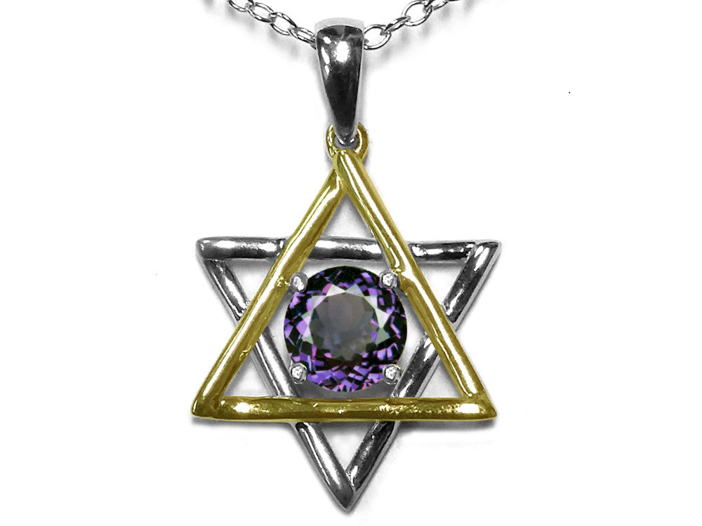Star K Jewish Star of David Pendant Necklace with Round Simulated Alexandrite