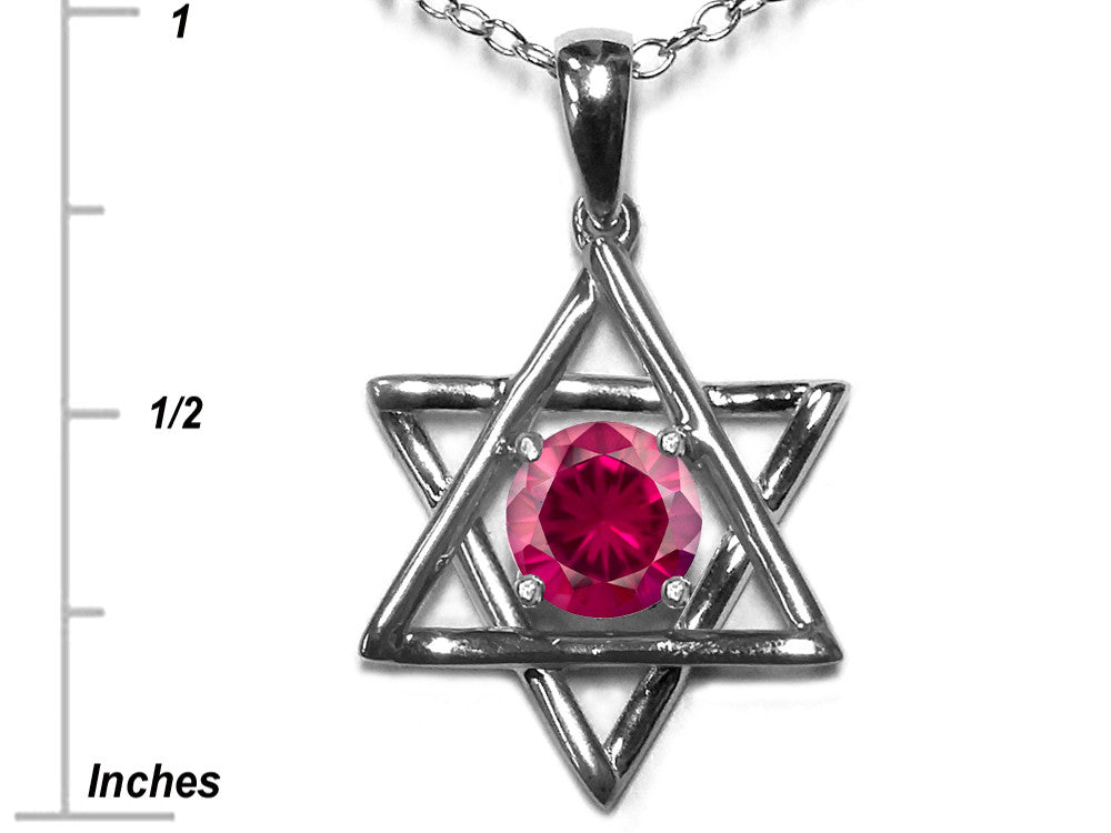 Star K Jewish Star of David Pendant Necklace with Round Created Ruby