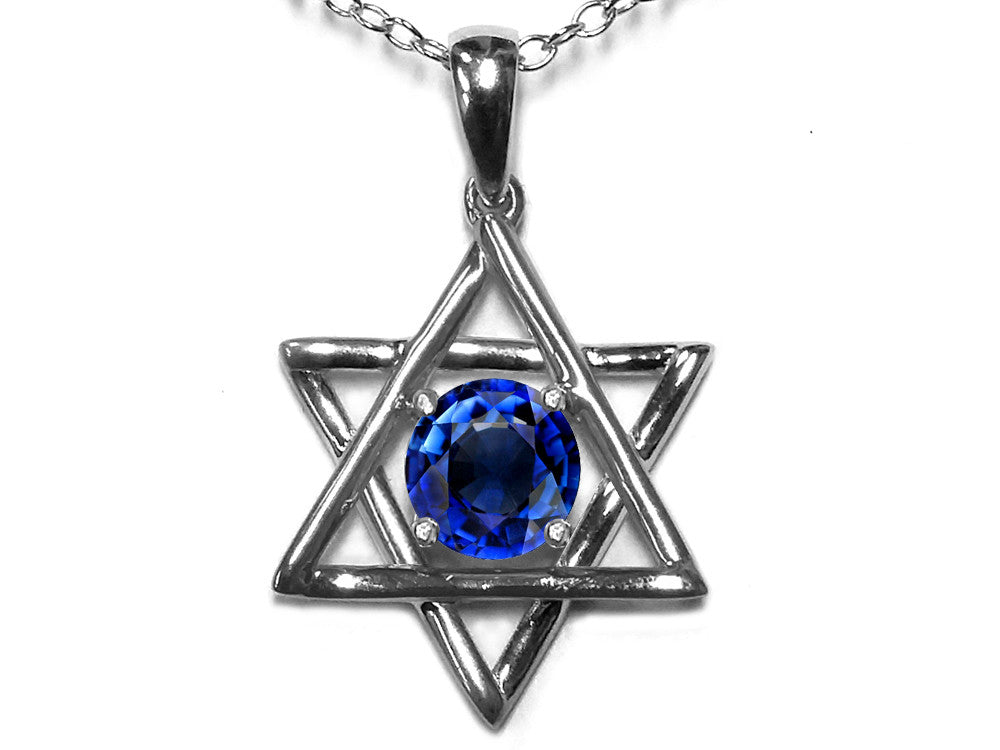 Star K Jewish Star of David Pendant Necklace with Round Created Sapphire