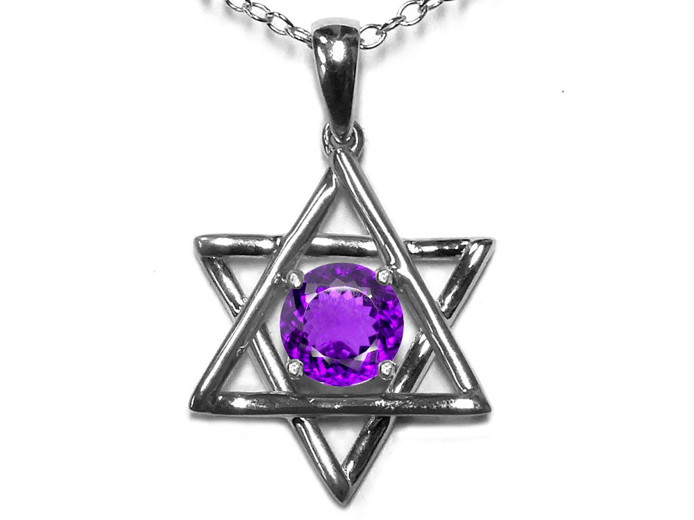 Star K Jewish Star of David Pendant Necklace with Round Genuine Amethyst
