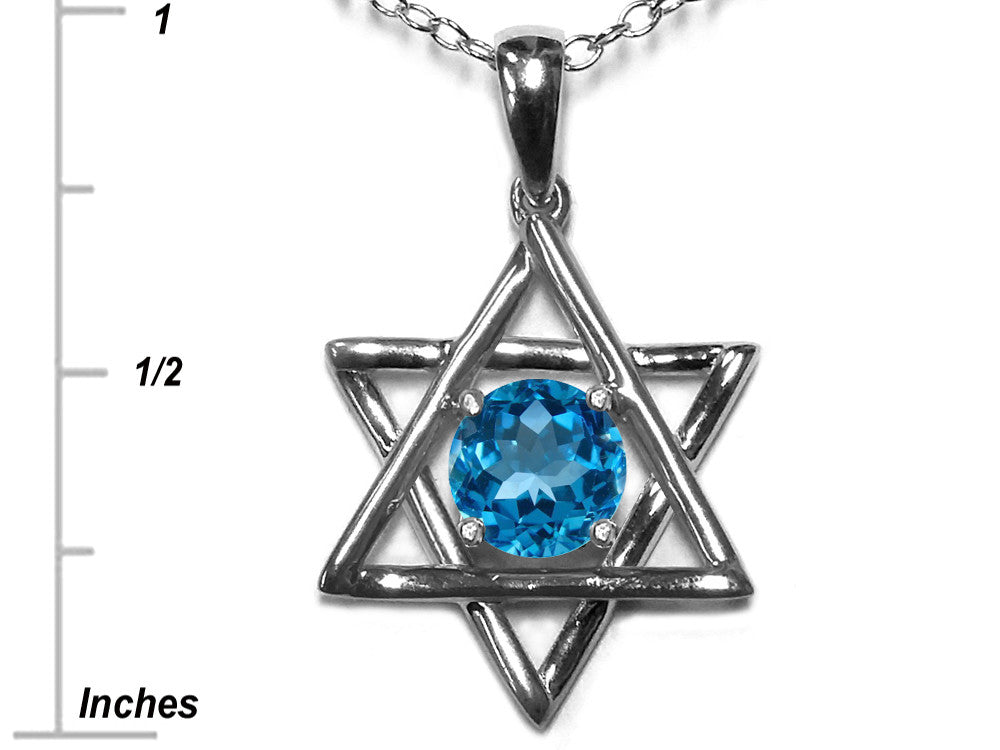 Star K Jewish Star of David Pendant Necklace with Round Genuine Blue Topaz
