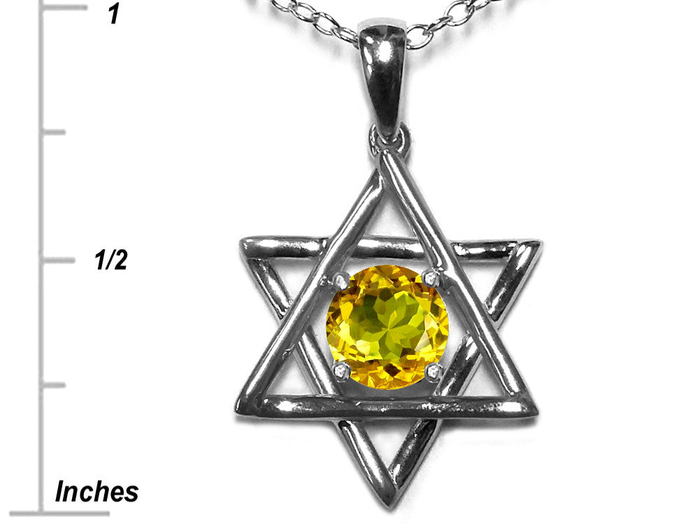 Star K Jewish Star of David Pendant Necklace with Round Genuine Citrine