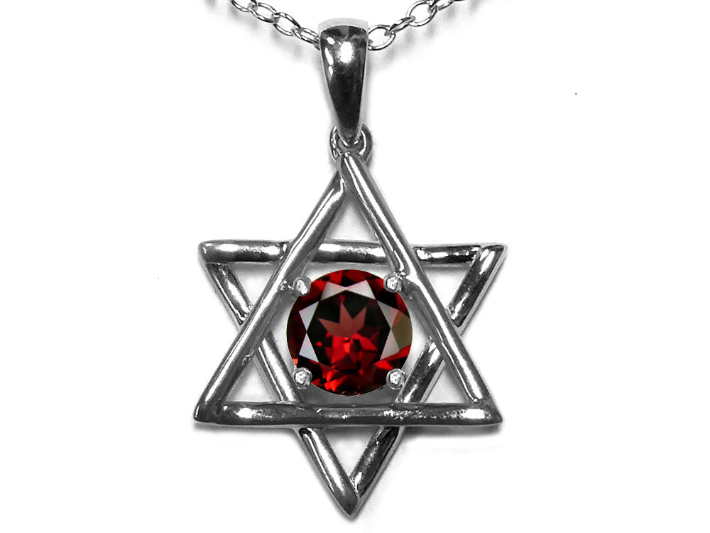 Star K Jewish Star of David Pendant Necklace with Round Genuine Garnet