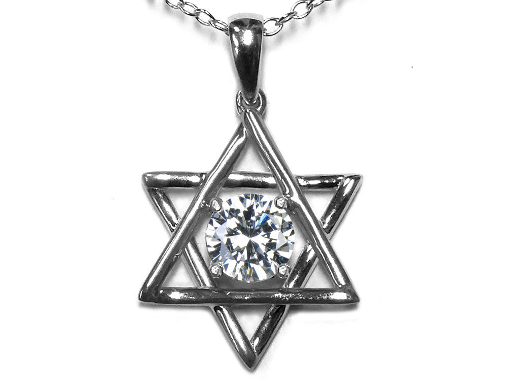 Star K Jewish Star of David Pendant Necklace with Round Genuine White Topaz