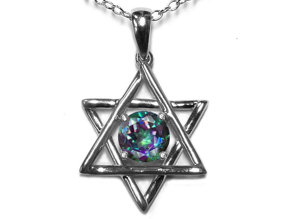 Star K Jewish Star of David Pendant Necklace with Round Rainbow Mystic Topaz