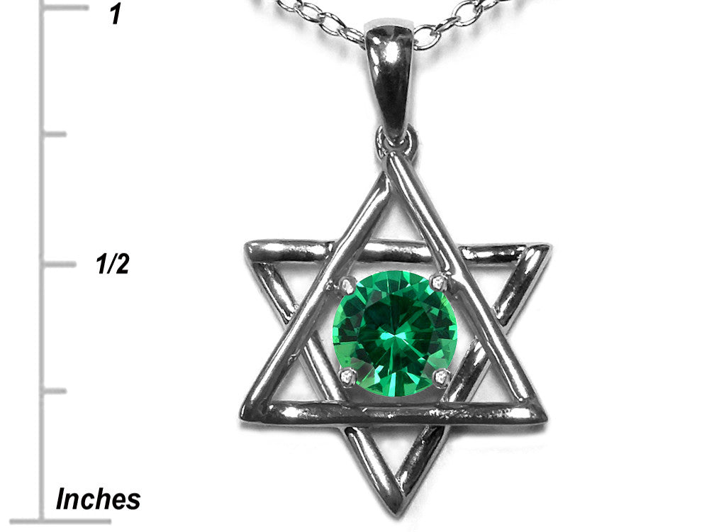 Star K Jewish Star of David Pendant Necklace with Round Simulated Emerald