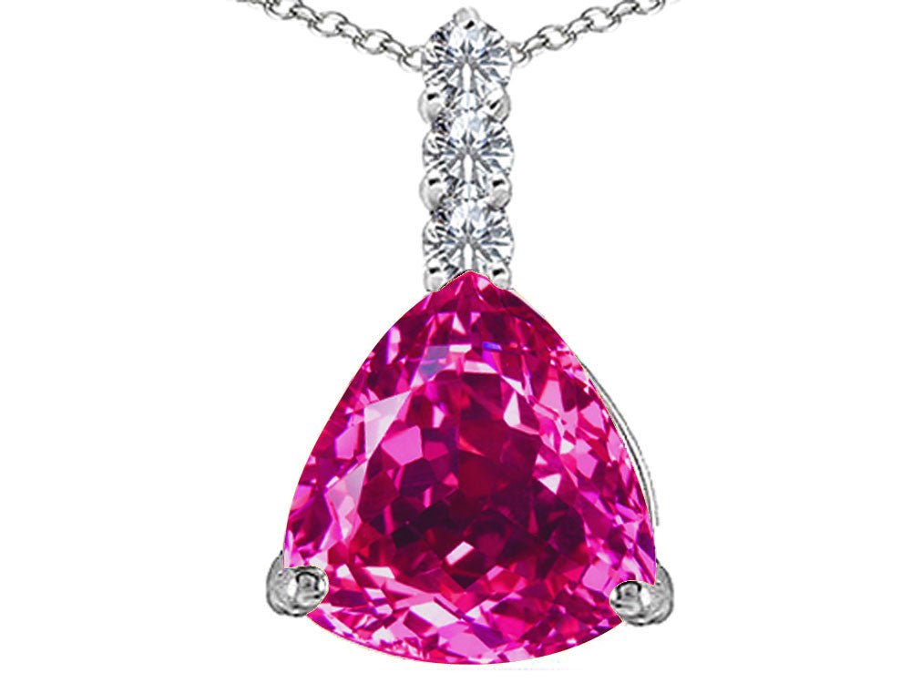 Star K Large 12mm Trillion Cut Created Pink Sapphire Pendant Necklace