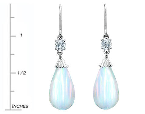 Star K Briolette Drop Cut Simulated Opal Hanging Hook Earrings
