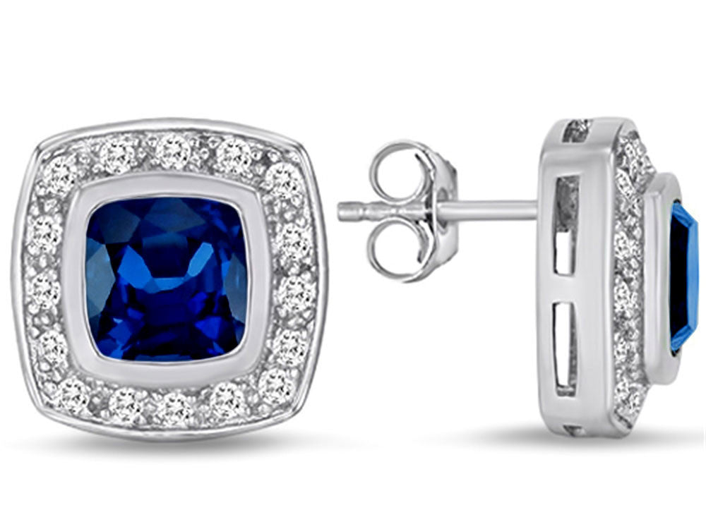 Star K 7mm Cushion Cut Created Sapphire Halo Earrings Studs