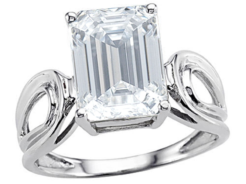 Star K Large Emerald Cut 10x8mm Genuine White Topaz Solitaire Ring