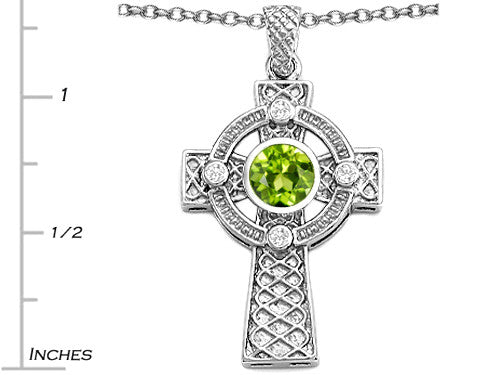 Star K Celtic Cross Pendant Necklace with 7mm Round Simulated Peridot and Cubic Zirconia
