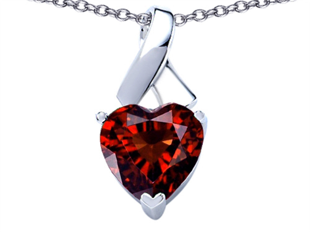 Star K 7mm Heart Shape Simulated Garnet Ribbon Pendant Necklace