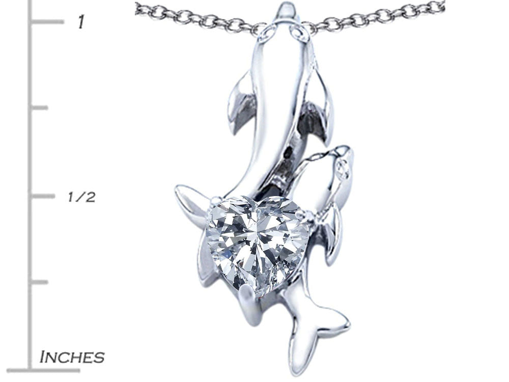Star K 7mm Heart Shape White Topaz Two Swimming Dolphin Pendant Necklace