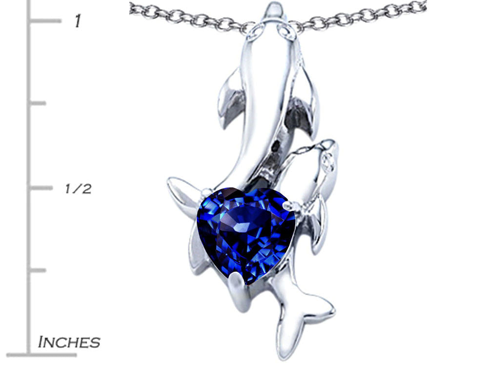 Star K 7mm Heart Shape Created Sapphire Two Swimming Dolphin Pendant Necklace