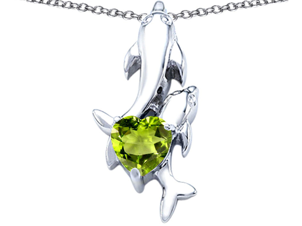 Star K 7mm Heart Shape Simulated Peridot Two Swimming Dolphin Pendant Necklace
