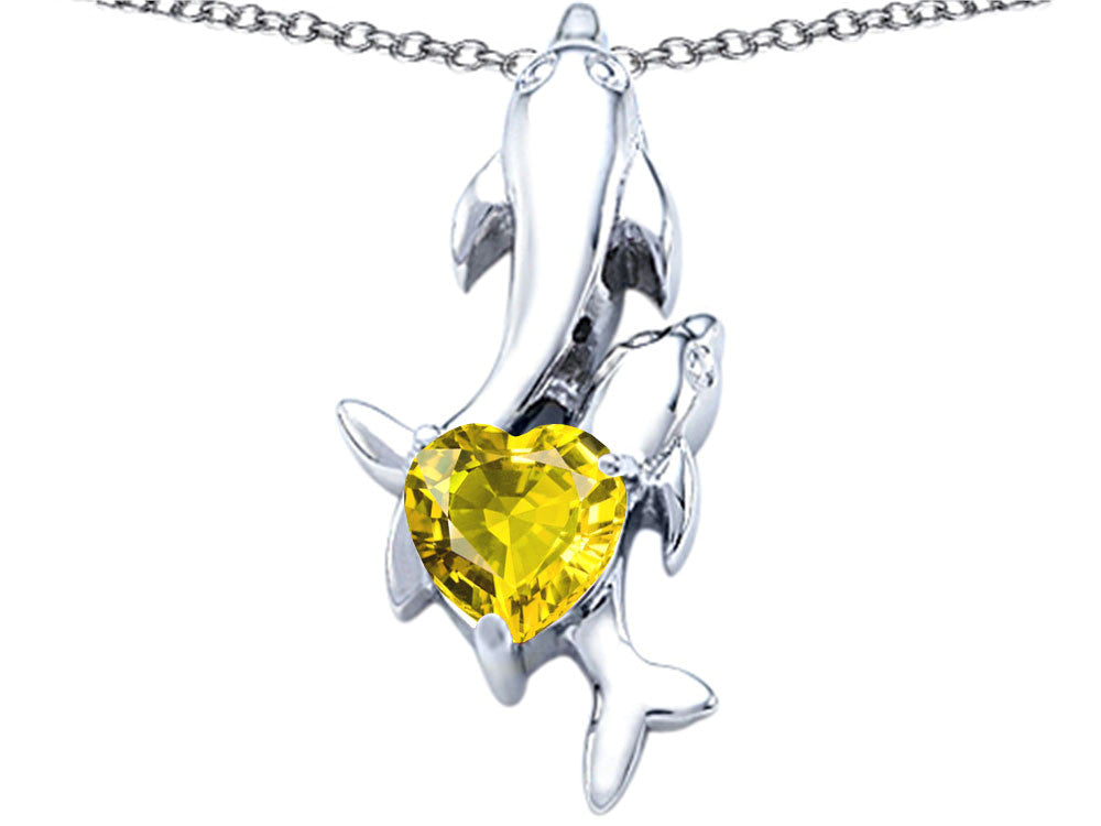 Star K 7mm Heart Shape Simulated Citrine Two Swimming Dolphin Pendant Necklace