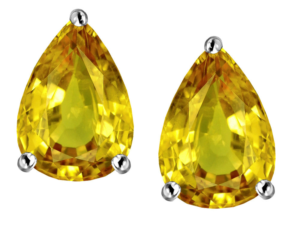 Star K Pear Shape 9x7mm Simulated Citrine Earrings Studs