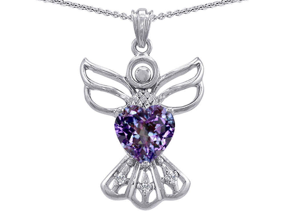 Star K Guardian Angel Love and Protection Simulated Alexandrite Heart Pendant Necklace