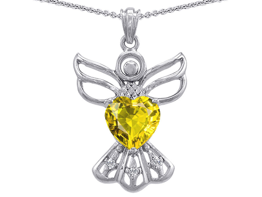 Star K Guardian Angel Love and Protection Simulated Citrine Heart Pendant Necklace