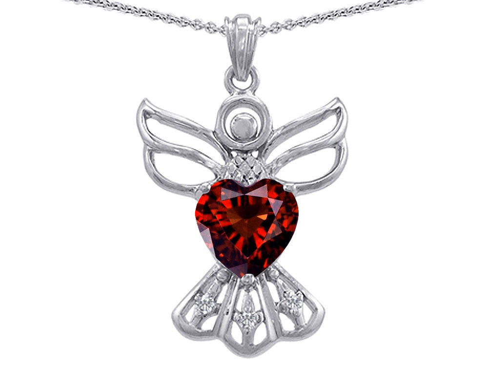 Star K Guardian Angel Love and Protection Simulated Garnet Heart Pendant Necklace