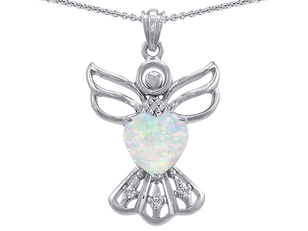 Star K Guardian Angel Love and Protection Simulated Opal Heart Pendant Necklace