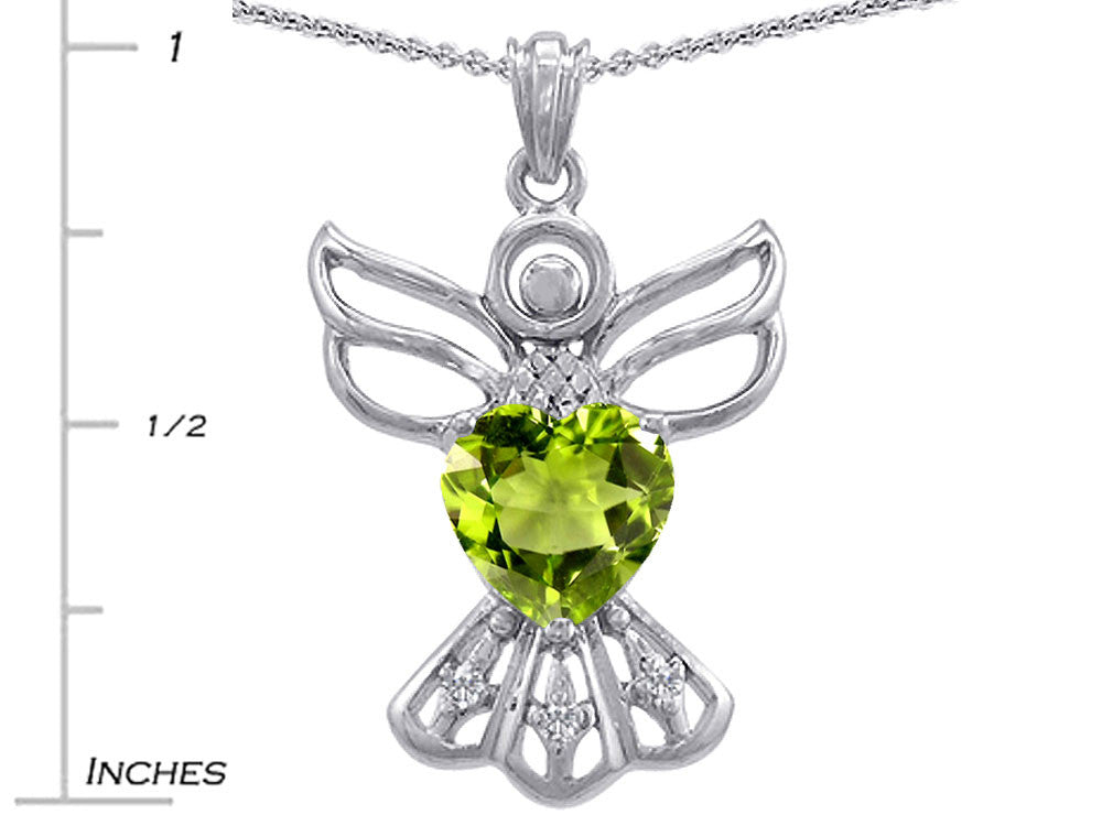 Star K Guardian Angel Love and Protection Simulated Peridot Heart Pendant Necklace