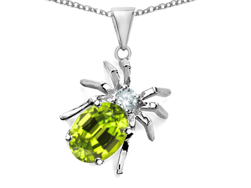 Star K Spider Pendant Necklace With 9x7mm Oval Simulated Peridot and Cubic Zirconia