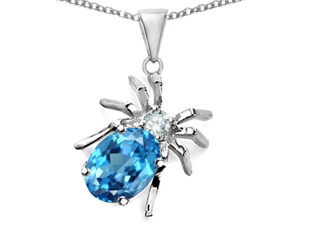 Star K Spider Pendant Necklace With 9x7mm Oval Simulated Blue Topaz