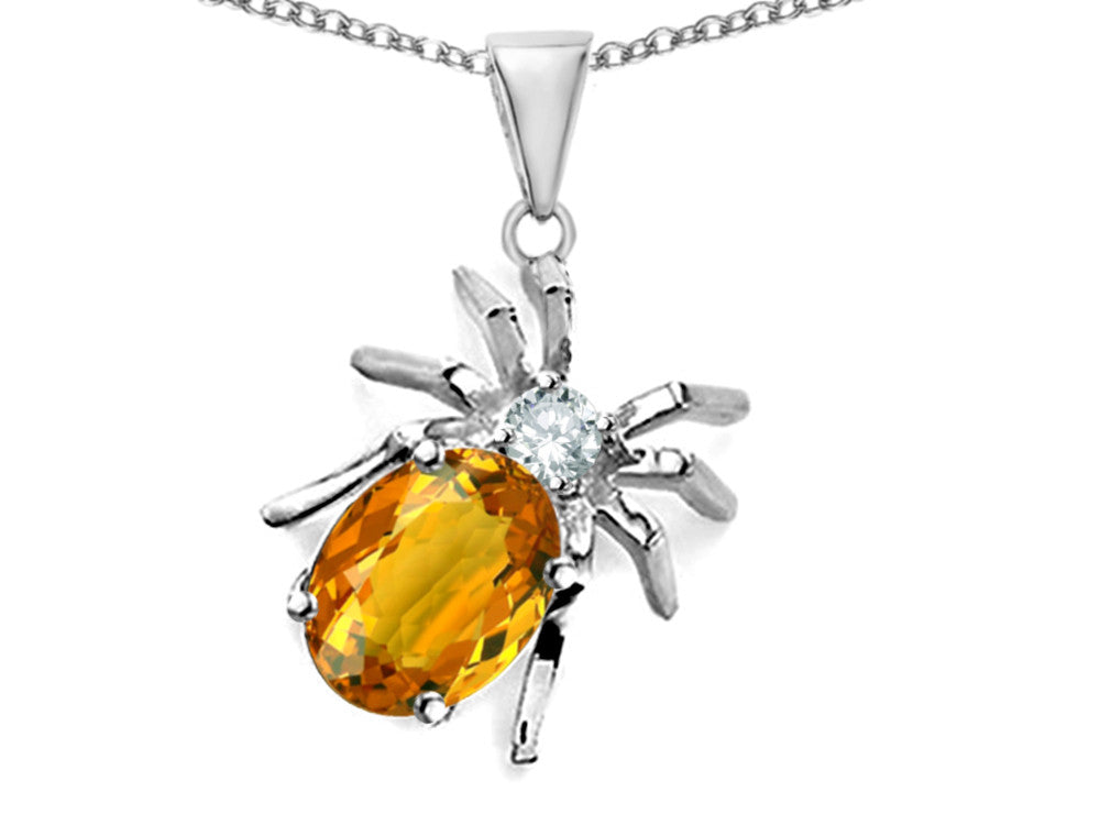 Star K Spider Pendant Necklace With 9x7mm Oval Simulated Citrine