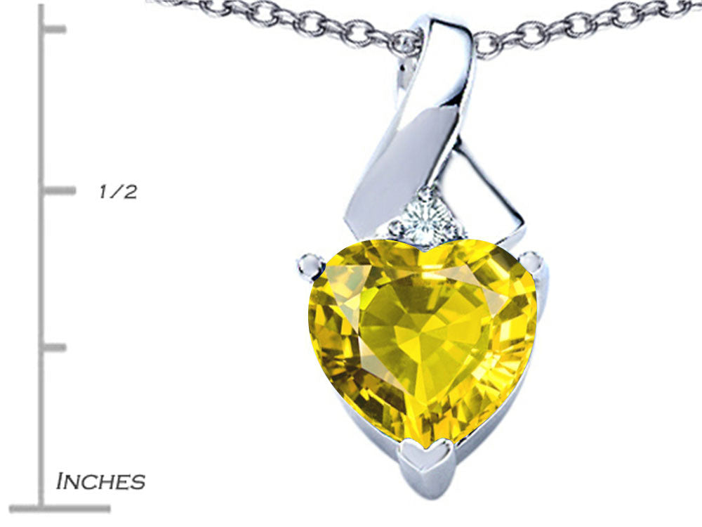 Star K 8mm Heart Shape Simulated Citrine Ribbon Pendant Necklace