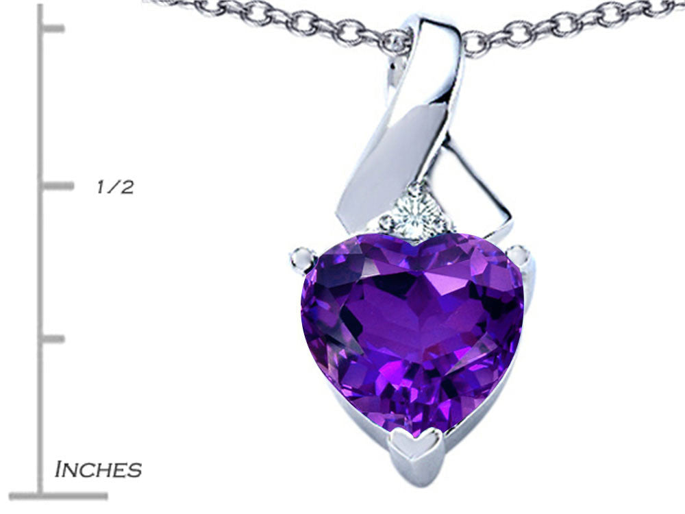 Star K 8mm Heart Shape Simulated Amethyst Ribbon Pendant Necklace