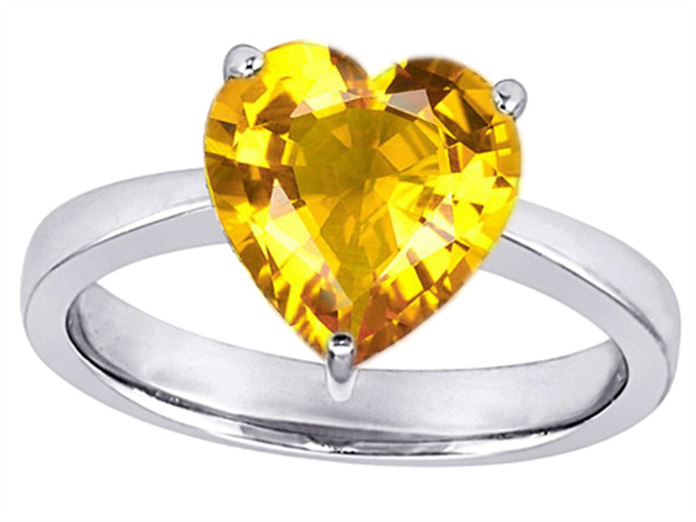 Star K Large 10mm Heart Shape Solitaire Ring with Simulated Yellow Sapphire