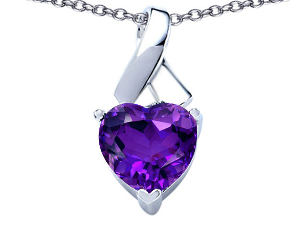Star K 7mm Heart Shape Simulated Amethyst Ribbon Pendant Necklace