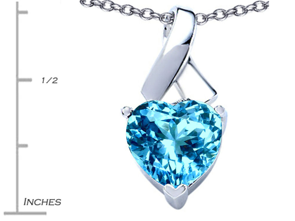 Star K 7mm Heart Shape Simulated Blue Topaz Ribbon Pendant Necklace