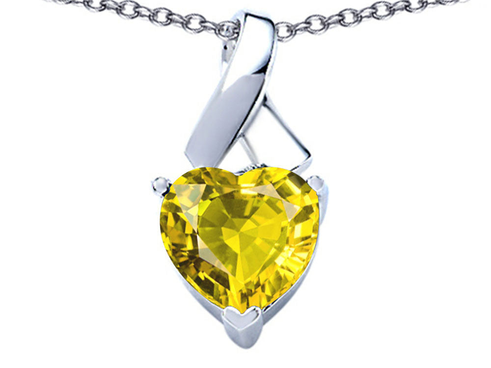 Star K 7mm Heart Shape Simulated Citrine Ribbon Pendant Necklace