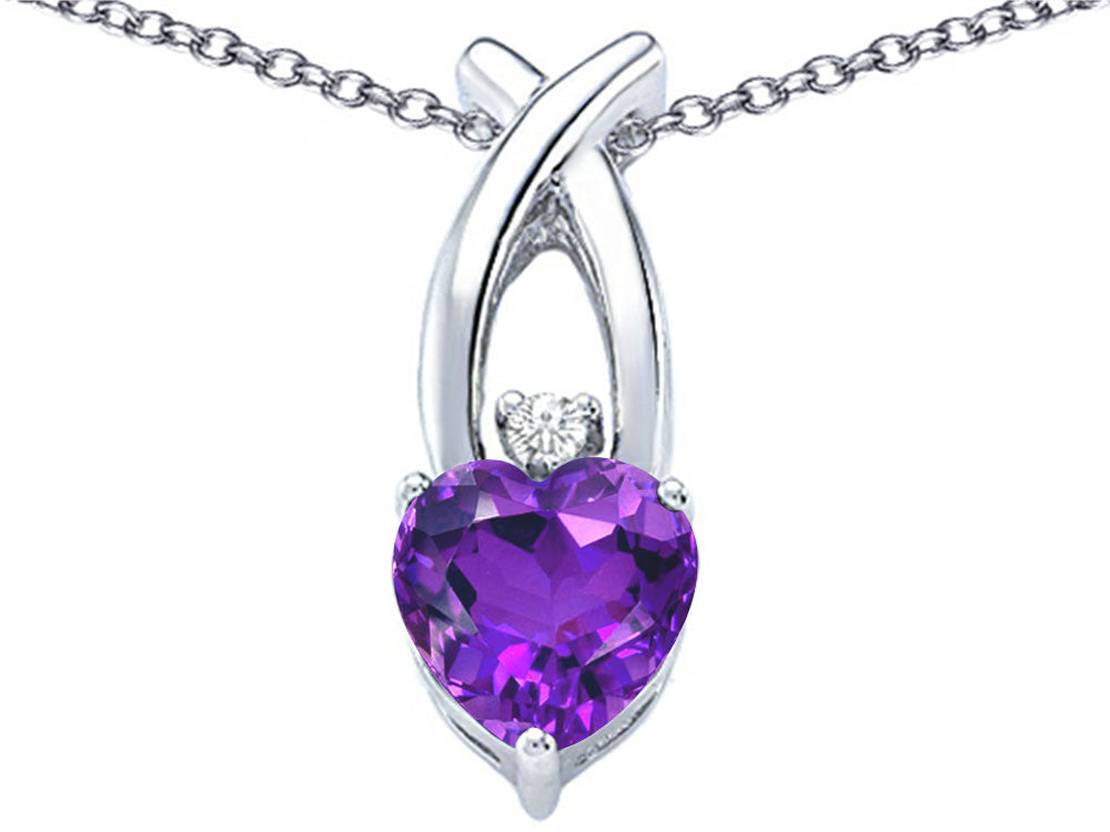 Star K 8mm Heart Shape Simulated Amethyst Cross Heart Pendant Necklace